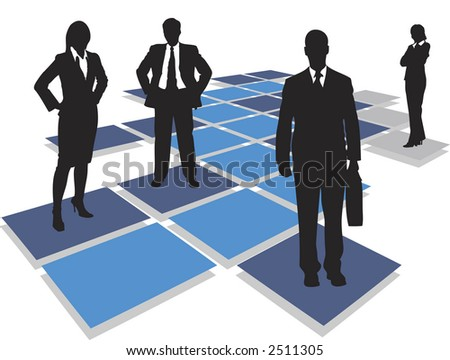 Business people standing on tiles