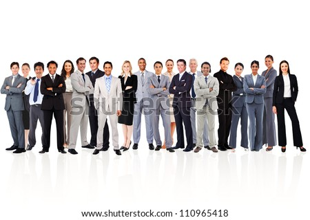 Business people standing up against a white background
