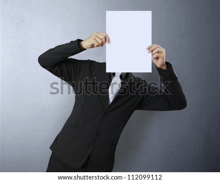 Business people standing with on boards - stock photo