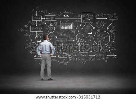 business, people, startup and strategy concept - businessman looking at scheme over concrete room background from back - stock photo
