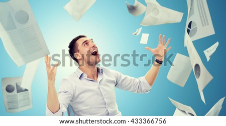business, people, success concept - businessman with falling papers over blue background - stock photo
