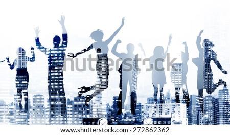 Business People Success Excitement Victory Achievement Concept - stock photo