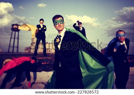 Business People Superhero Inspirations Confidence Team Work Concept - stock photo