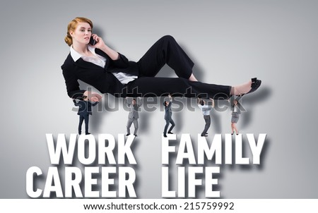 Business people supporting boss against grey vignette with text - stock photo