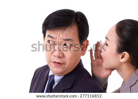 business people talking about bad business news - stock photo