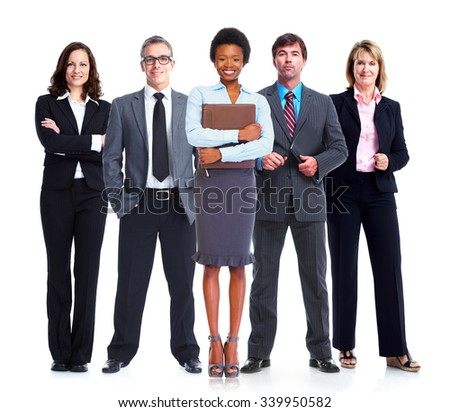 Business people team isolated over white background. - stock photo