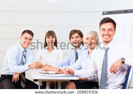 business people team smile sitting at desk in office meeting conference room, businesspeople group working with colleague