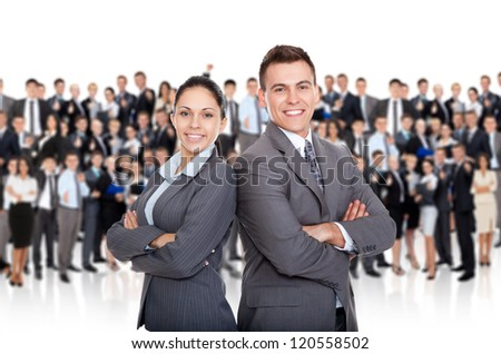 Business people team standing folded hand smile, businessman and businesswoman over big group of businesspeople background