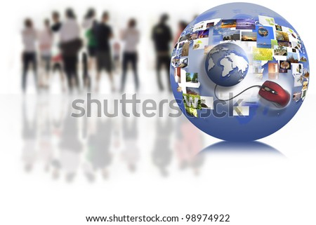 business people team with world map on the internet connection. - stock photo