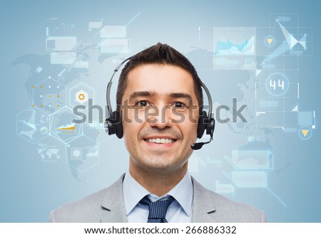 business, people, technology and service concept - smiling businessman in headset over blue background with world map and virtual screens
