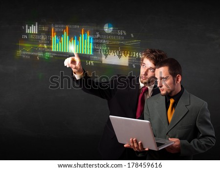 Business people touching colorful charts and diagrams