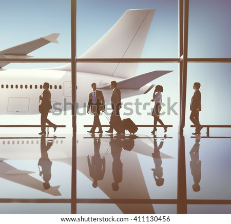 Business People Traveling Airplane AIrport Terminal Concept - stock photo