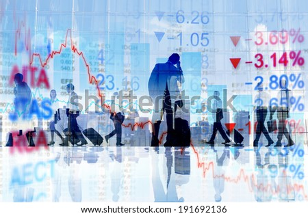 Business People Travelling and Finance Concepts - stock photo