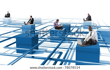business people use laptop on 3d abstract web - stock photo