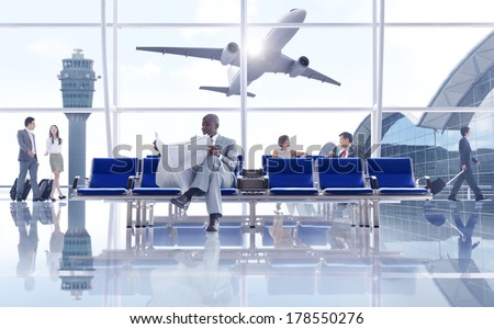 Business People Waiting at Airport with 3D Airplane - stock photo