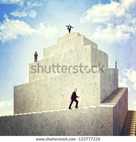 business people walk on 3d tower - stock photo