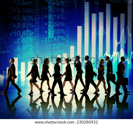 Business People Walking Financial Figures Concept - stock photo
