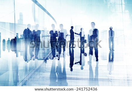 Business People Walking Handshake Professional Urban City Concept - stock photo