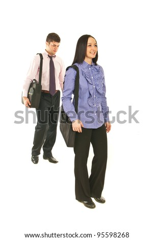 Business people walking to their jobs isolated on white background - stock photo