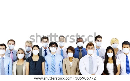 Business People Wearing Medical Mask Concept - stock photo