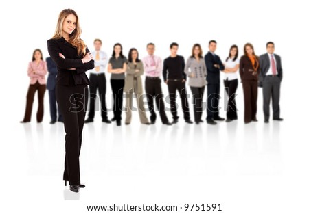 business people with a businesswoman standing in front of the group isolated over a white background - stock photo