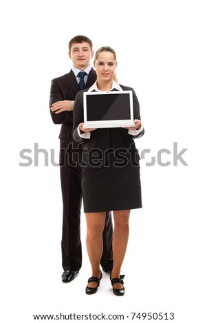 Business people with a laptop, a full-length portrait