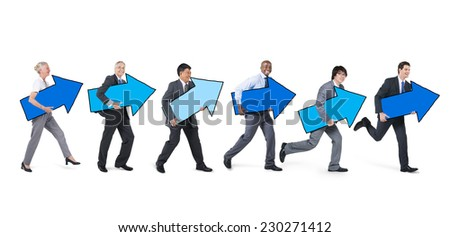 Business People with Arrow Sign Running Forward