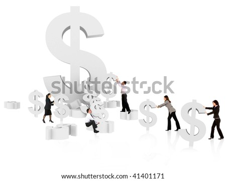 Business people with dollar symbols isolated on white