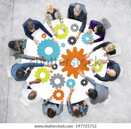 Business People with Gears and Teamwork Concept - stock photo