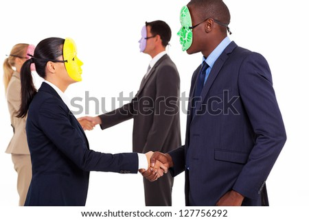 business people with mask handshake on white - stock photo