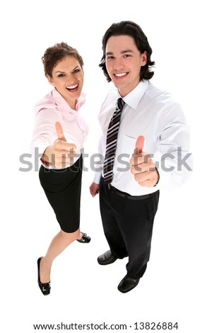 Business People With Thumbs Up - stock photo