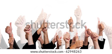 Business People with Thumbs Up on White Background - stock photo