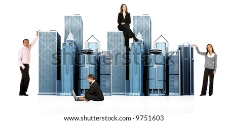 business people working around office buildings - isolated over a white background