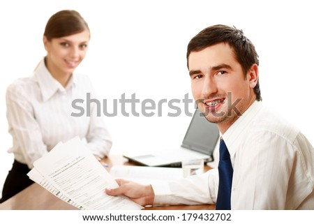 Business people working, closeup - stock photo