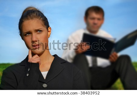 Business people working goutddor - stock photo