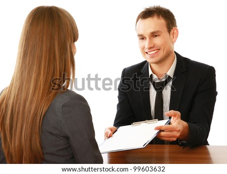 Business people working in the office, isolated on white background - stock photo