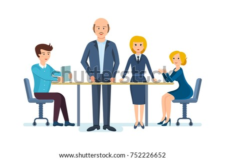Group Working People Businessmen Businesswomen Isolated ...