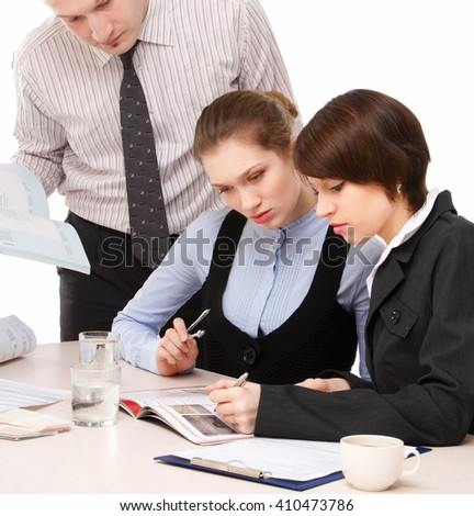 Business people working togethe, closeup - stock photo