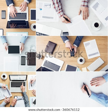 Business peoples collage of pictures, top view. Business and financial concept - stock photo