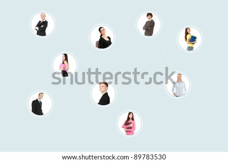 Business peoples portraits bounded with a computer network. - stock photo