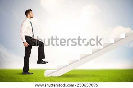 Business person climbing up on white staircase in nature background concept - stock photo