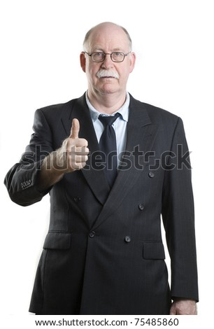 Business person giving thumbs up