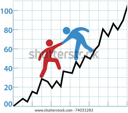 Business person helping red symbol over rough spot of loss to grow to profit - stock photo