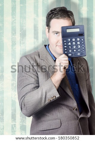 Business person hiding behind cash calculator when searching for hidden superannuation money - stock photo
