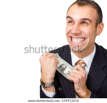 Business person hold one dollar in hand  - stock photo