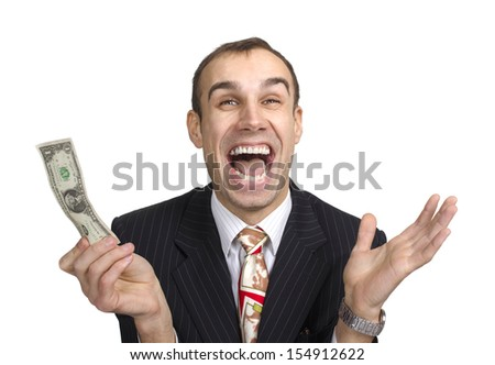 Business person hold one dollar in hand