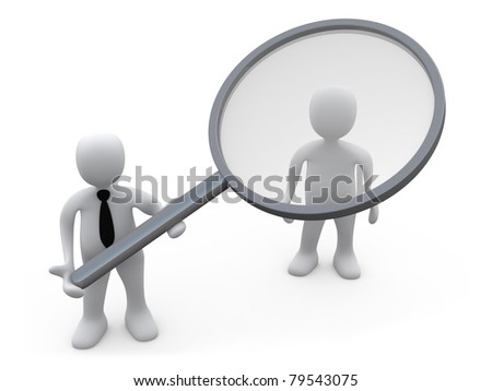 Business Person Holding A Magnifying Lens Over A Customer. - stock photo