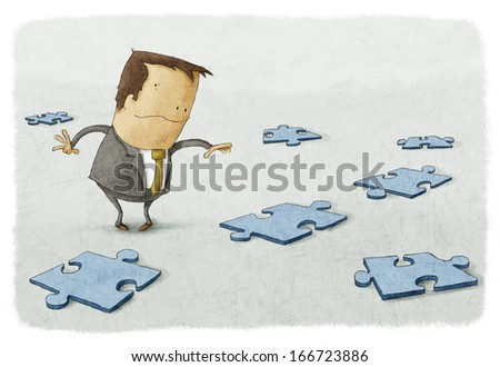 Business person searches to find solution piece and question answers. - stock photo