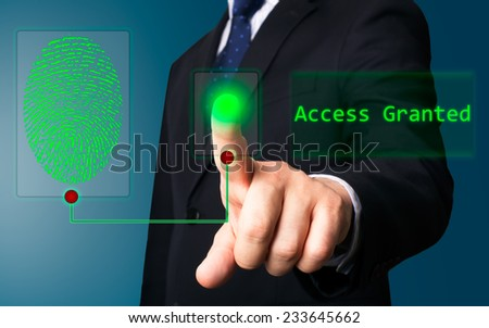 Business person working with modern virtual technology (electronic key) - stock photo