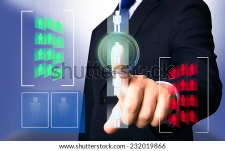 Business person working with modern virtual technology (people icons) - stock photo